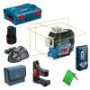 BOSCH GLL 3-80 CG + BM 1 Nivela laser cu linii verzi (30 m) + Suport + 1 acumulator 12V + L-BOXX + LR 7 Receptor