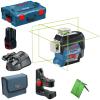 BOSCH GLL 3-80 CG + BM 1 Nivela laser cu linii verzi (30 m) + Suport + 1 acumulator 12V + L-BOXX