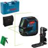 BOSCH GLL 2-15 G + LB 10 + DK 10 Nivela laser cu linii verzi (15 m) + Suport universal + Clema de prindere pe tavan + Valiza