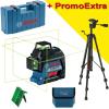 BOSCH GLL 3-80 G + BT 150 Nivela laser cu linii verzi (30 m) + Valiza + Stativ