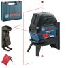 BOSCH GCL 2-15 + RM 1 Nivela laser cu linii (15 m) + Suport professional + Clema pentru tavan + Valiza