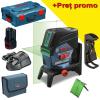 BOSCH GCL 2-50 CG + RM 2 + BM 3 Nivela laser verde cu linii cu 1 acu, 12V (20 m) cu Bluetooth + Suport rotatv + Suport perete
