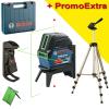 BOSCH GCL 2-15 G + RM 1 Nivela laser cu linii (15 m) + Suport professional + Clema pentru tavan + Valiza + HAMA Trepied