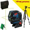 BOSCH GCL 2-50 G + RM 10 + BT 150 Nivela laser verde cu linii (20 m) + Suport professional + Stativ