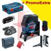 BOSCH GCL 2-50 C + RM 2 + BM 3 + GAA 12V Nivela laser cu linii cu 1 acu 2Ah (20 m) cu Bluetooth + Suport rotativ + Suport perete + Adaptor USB + L-BOXX