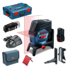 BOSCH GCL 2-50 C + RM 2 + BM 3 + GAA 12V Nivela laser cu linii cu 2 acu 2Ah (20 m) cu Bluetooth + Suport rotativ + Suport perete + Adaptor USB + L-BOXX