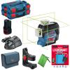 BOSCH GLL 3-80 CG + BM 1 Nivela laser cu linii verzi (30 m) + Suport + 1 acumulator 12V + L-BOXX (2 bucati)  +  Lacat cu Bluetooth LockSmart Mini