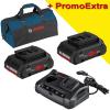 BOSCH ProCORE 18V + GAX 18V-3 Set 2 acumulatori Li-Ion, 18V, 4Ah + Incarcator dublu de 3Ah, 12V-18V + port USB + Geanta textil mediu