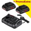 BOSCH ProCORE 18V + GAX 18V-30 Set 2 acumulatori Li-Ion, 18V, 4Ah + Incarcator dublu de 3Ah, 12V-18V + port USB