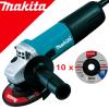 MAKITA 9557HNRG Polizor unghiular mic 840 W, diametru  disc 115 + D-18459 10 Discuri Slefuire Metal 115x6