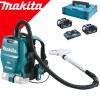 MAKITA DVC260Z Aspirator tip rucsac Li-Ion, 2x18 V fara acumulator in set (SOLO) + 197629-2 Power Source Kit LXT MAKPAC +  BL1850BX2 + DC18RD