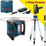 BOSCH GRL 500 HV + LR 50 Nivela laser rotativa orizontal/vertical (500 m) + Receptor/telecomanda +  BT 170 Trepied + GR 240 Rigla