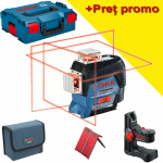 BOSCH GLL 3-80 C + BM 1 (SOLO) Nivela laser cu linii (30 m) + Suport + L-BOXX