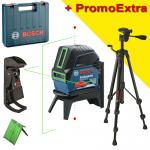 BOSCH GCL 2-15 G + RM 1 Nivela laser cu linii (15 m) + Suport professional + Clema pentru tavan + Valiza + BT 150 Stativ pentru constructii