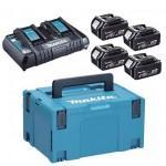 MAKITA  Kit acumulatori 18 V, 5 Ah (MAKPAC3 + BL1850Bx4 + DC18RD)