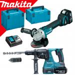 MAKITA DLX2125TJ1 Kit 2 scule 18V (DGA504Z + DHR243Z) cu 2 acumulatori Li-Ion LXT, de 5Ah + MakPac Tip 3 + MakPac Tip 4