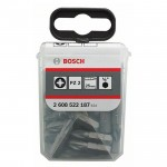 BOSCH  Set 25 biti Extra Hard 25 mm, PZ2 in cutie Tic-Tac